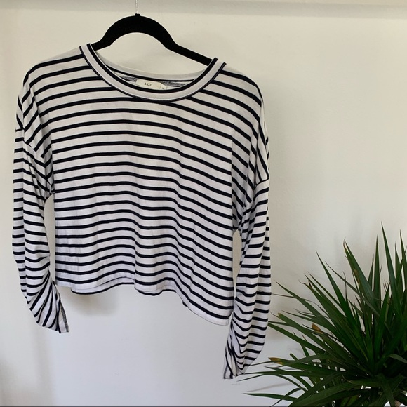 A.L.C. Striped Crop Top with Ruched Sleeve / XS